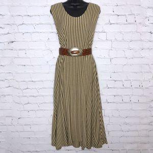 Vintage Black Striped Moroccan Tent Dress Maxi